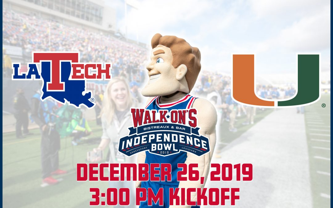 Home-State Louisiana Tech to Match Up Against Miami in 2019 Walk-On's Independence Bowl